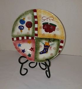 Pfaltzgraff HOLIDAY MAGIC Salad Plate  Stocking Ornaments Stars Gingerbread Man
