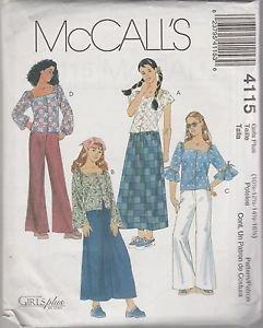 McCall's Girls Plus 4115 Tops Skirt Pants Size 10.5  12.5  14.5  16.5