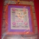 Crewel Creative Stitchery Kit 2307 A KINDNESS IS LOVE NIP  Good Beginner Kit