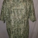 Tori Richard Green Geometric Design Cotton Lawn Camp Shirt Hawaiian Size Large