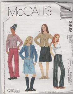 McCall's Girls Plus 3809  Cardigan Skirt Pants Size 10.5  12.5  14.5  16.5