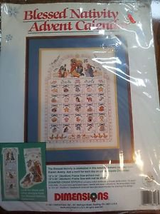 Christmas Cross Stitch Kit Blessed Nativity Advent Calendar Avery Dimensions OOP
