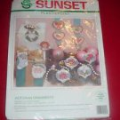 1992 Sunset Plasticpoint Needlepoint #19009  VICTORIAN ORNAMENTS Kit Set of 12