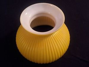 Vintage Hurricane Style Lamp Shade Yellow Cased Glass Ribbed Pattern