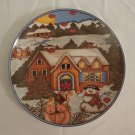 Royal Norfolk WINTER Theme Snowman Cottage Hearts Salad Plate Decorative