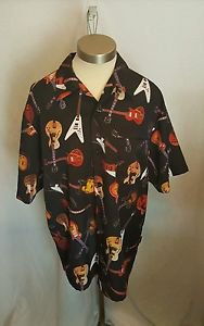 Gibson Shirt Black Guitars Tour Wear Button-Down  Dragonfly Size Large