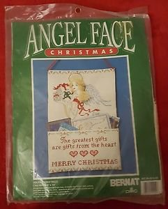 1991 Christmas Cross Stitch Card Holder Kit w/ Handpainted Angel Face NIP
