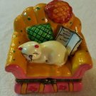 Trinket Box  NAPPING CAT IN CHAIR Porcelain Hinged Box  NEW