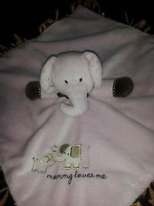 Carters Pink Brown Elephant Mommy Loves Me Rattle Security Lovey Blanket