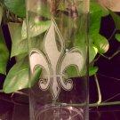Engraved glass Fleur De Lis Vase