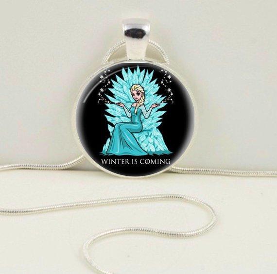 "Custom Frozen Elsa Game of Thrones ""Winter is Coming"" inspired pendant necklace"