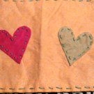 Yellowgreen hearts and flowers feltbag
