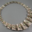 Old 1930's Mexican Sterling Green Turquoise Barrel Links Necklace Rare!