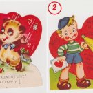 42 Panda bear plus boy w/ horn children's  Valentine Cards  used