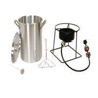 PORTABLE PROPANE OUTDOOR DEEP FRYING / BOILING PACKAGE WITH 2 POTS