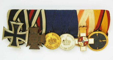 rare German WW2 spange with 6 medals and cross for LEGION CONDOR, 1936 - 1939