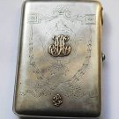 Russian Imperial silver cigarette case with 2 gold monograms, stamped