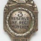 German WW1 military badge of 3d Infantry Regiment in Munchen, marked + document