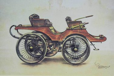 Original Vintage old pictures of automobile LANGHESTER 1895, photo car, badge
