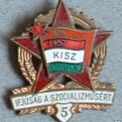 Commemorative Hungarian enameled badge, 1957 medal star