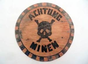 Original German WW2 Plate CAUTION MINES - ACHTUNG MINEN - w. Skull & Crossbones