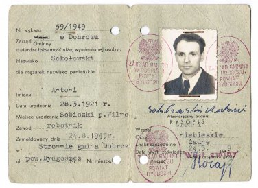 Polish WW2 Temporary Document ID for ex Prisoner of KL, 1949