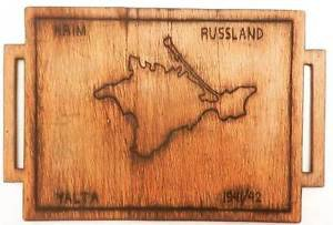 Original Rare German WW2 Salver TRAY with Map of Crimea, Soldiers Art 1941 -1942