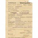 German WW2 Arbeitskarte for Polish worker, 1943, document ID