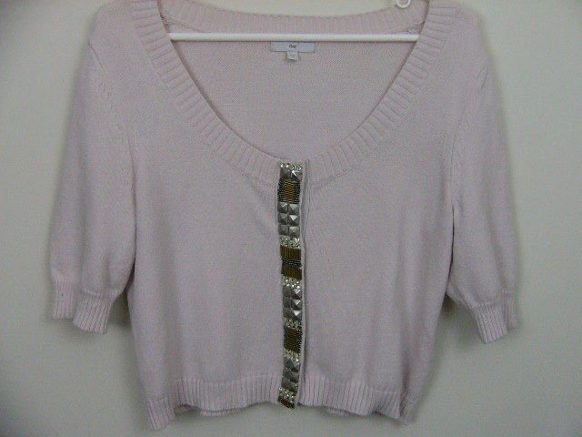 GAP BEADED CARDIGAN SHRUG SWEATER SIZE MEDIUM BLUSH COLOR HOLIDAY ATTIRE!
