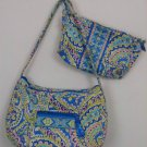 2-VERA BRADLEY PURSE AND CLUTCH BLUE PAISLEY W/LIME GREEN YELLOW PURPLE