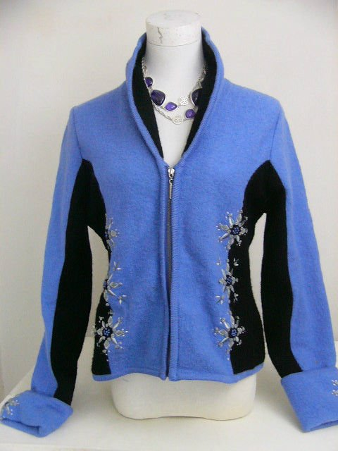 CARSON BOILED WOOL WINTER JACKET INDIGO BLACK SIZE MEDIUM SNOWFLAKE DESIGN