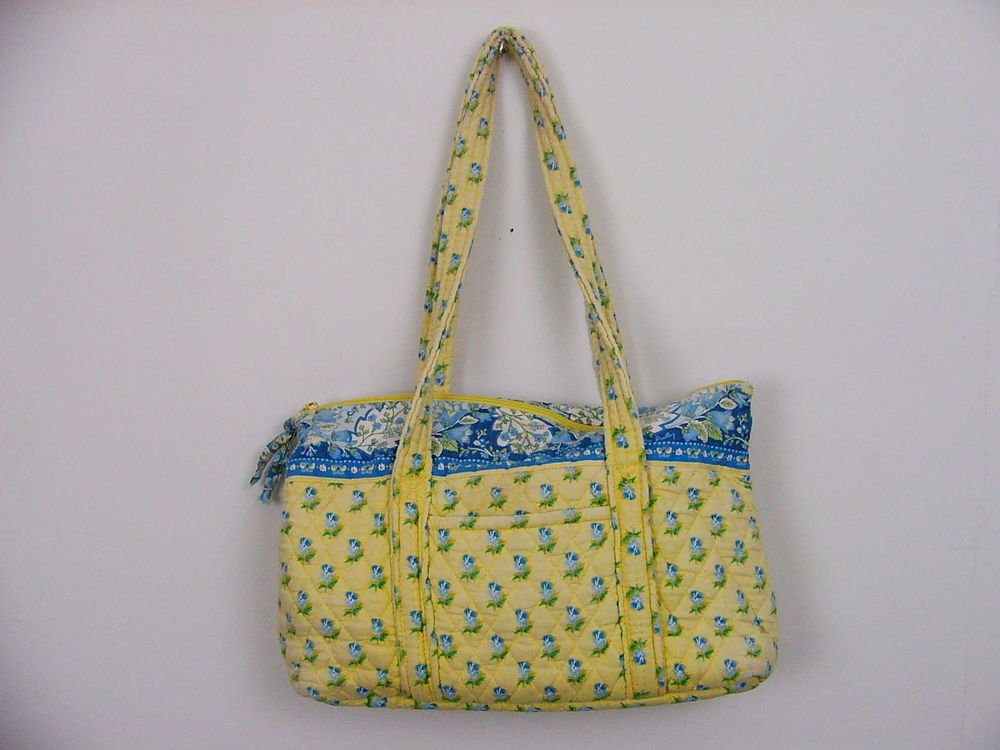 VERA BRADLEY PURSE YELLOW BLUE FLORAL 'KATHERINE' RETIRED HANDBAG