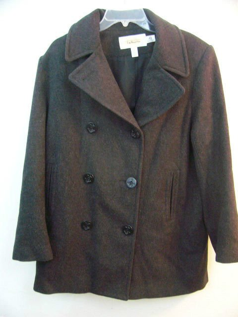 TALBOTS GREY 100% WOOL PEA COAT SIZE 12 DOUBLE BREASTED WOMANS peacoat WINTER