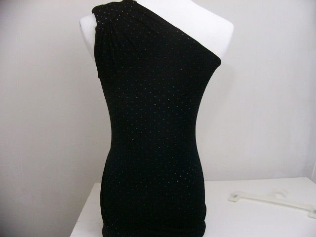 TWENTYONE DRESS ONE SHOULDER BLACK W/BLACK PEARLS SIZE SMALL SEXY HOT!