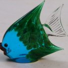 Hand Blown Murano Glass Angel Fish Figurine Blue GREEN Sculpture 1930's signed