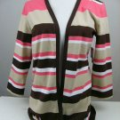 NWT LIZ CLAIBORNE ACTIVE STRIPED CARDIGAN SIZE MEDIUM CORAL BROWN TAN 'DARK RUM'