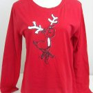 MCCC SPORTSWEAR RED REINDEER T SHIRT TOP SIZE XLARGE LONG SLEEVE PJ