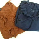 LOT 2 RUFFLED TOPS PETITE SMALL SHIRTS BLOUSE TALBOTS NAVY & RAFAELLA GOLD RUST