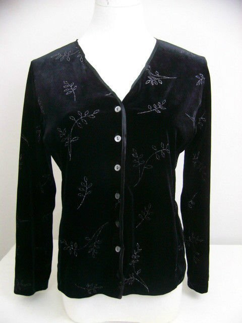 PETITE SOPHISTICATE BLACK VELVET BLOUSE SIZE SMALL SILVER LEAF DESIGN HOLIDAY!