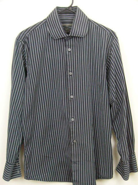 BANANA REPUBLIC Gray Striped 100% Cotton LS Mens Dress Shirt 15-15 1/2 (M)