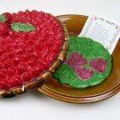 "Vintage Lidded Ceramic 11"" Strawberry Pie Plate Covered Keeper-Over and Back Inc"