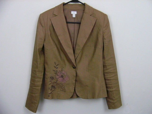 APT. 9 'STRETCH' TAN BROWN LINEN JACKET SIZE 4 SMALL EMBROIDERED CAREER LINED