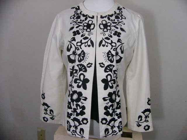 LOT 2 SIGRID OLSEN SPORT White Black Stretch Jacket Blazer & INC shell size m