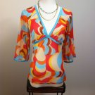 DIVIDED BY H&M SHEER MULTLI COLOR TOP BLOUSE SHIRT SIZE 36 (6) SMALL