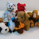 Lot of 8 Ty 3rd gen Beanie Babies including RARE OSITO & TY2K BEARS, CHOC MOOSE