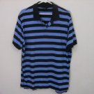BANANA REPUBLIC MENS POLO GOLF SHIRT BLUE STRIPED SIZE XL PIMA COTTON