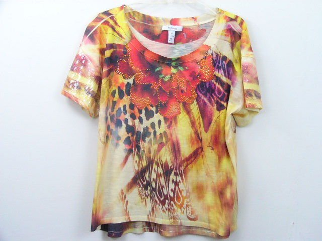 STYLE & CO. WOMENS EMBELLISHED FLORAL T SHIRT TOP SUMMER SIZE MEDIUM