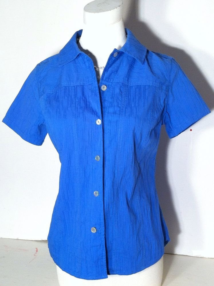 CHICO'S BLUE BUTTON DOWN BLOUSE SHORT SLEEVED SIZE O (SMALL) SUMMER ELEGANCE!