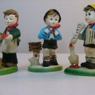 Vintage Lot Of 3 Plastic Hummel Style Christmas Ornaments FIGURINES 5""
