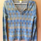 SIGRID OLSEN WOMENS SWEATER TOP SHIRT BLOUSE BLUE GREEN BLOCK SIZE SMALL